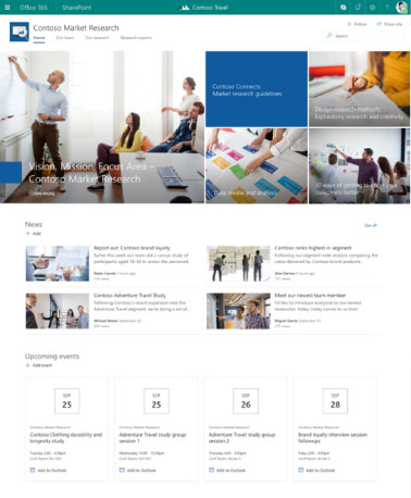 Microsoft SharePoint - exemple de site de communication